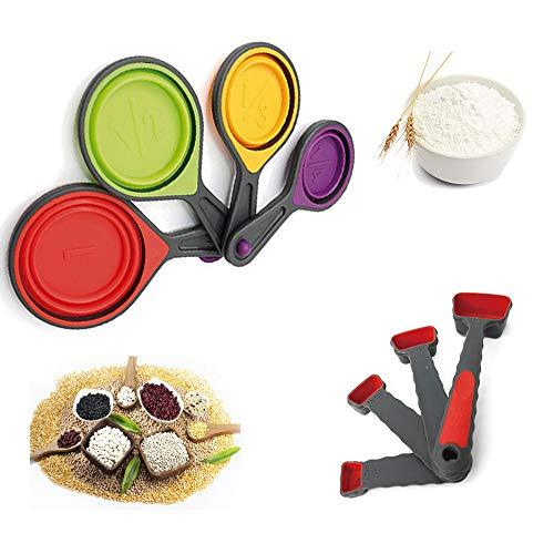 Yolococa Messlöffel Sets Messbecher und Löffel Tassen mit Silikongriff für Küche Kochen Backen(8-teiliges)