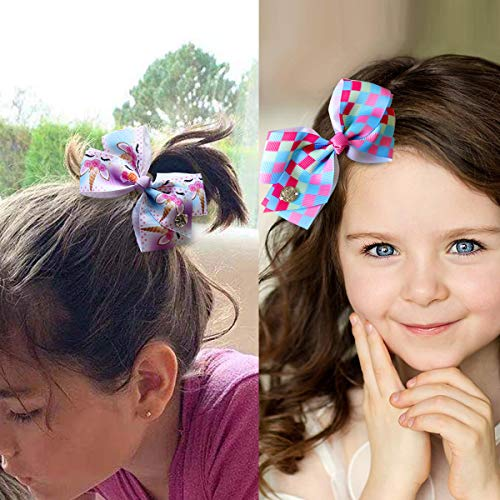 MITAOSLIM 12pcs 5 Inch JoJo Girls Siwa Bows Alligator Hair Clips, Grosgrain Ribbon Hair Bows Barrettes Accessories for Toddler Teens Kids