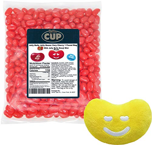 Jelly Belly Jelly Beans - 1 Pound Bag, Very Cherry - with By The Cup Portion Control Jelly Bean Scoop