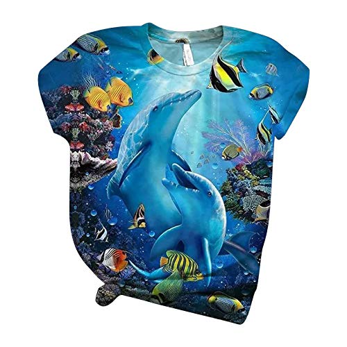 FNKDOR Womens Short Sleeve Blouse 3D Animal Blue Sea Landscape Printed O-Neck Tops Tee Fashion T-Shirt Blouse