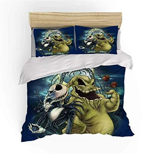 Nat999Lily Cartoon The Nightmare Before Christmas Bedding Set Duvet Cover Set Boy Girl Home Bed Linen Set Bed Set Pillowcase 240X260Cm