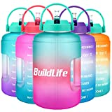 BuildLife Bottiglia d'acqua da 2,5 l, con timer, grande, senza BPA, ampia apertura con manico, riutilizzabile, a prova di perdite, 2,5 l