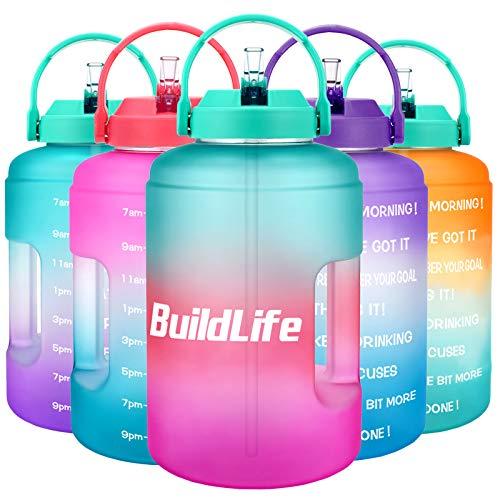 BuildLife Botella de agua de 2,5 l con diseño de estrellas y marcador de tiempo motivador, sin BPA, boca ancha con asa, reutilizable, antigoteo (verde/rosa, 2,5 L)