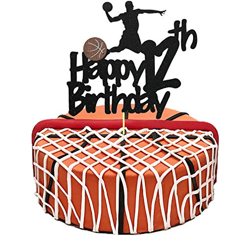 Basketball Cake Topper, Glittery Happy 12th Birthday Basketball Cake Toppers for 12 Year Old Boy and Kids Basketball Scene Themed Birthday Decorations Basketball Fans Party Favors