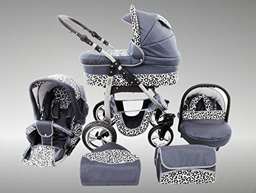 Chilly Kids Dino poussette combinée Set – hiver (chancelière, siège auto & adaptateurs, habillage pluie, moustiquaire, roues pivotantes, porte-gobelets) 33 graphite & léopard de neige