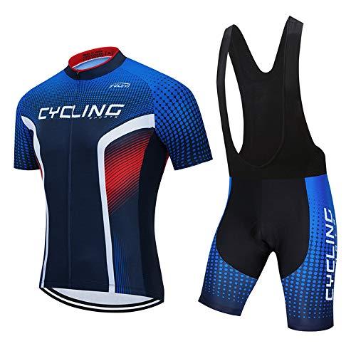 Hplights - Juego de trajes de verano para hombre, manga corta, con acolchado de gel 3D para todos los niveles de ciclista MTB, L