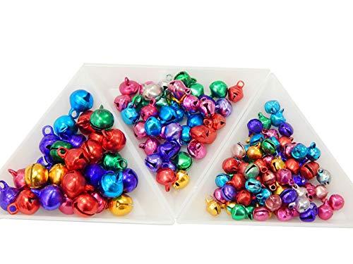 Perlin 850stk Glöckchen Glocken Metallglöckchen Schellen 10mm+8mm+6mm Jingle Bells mit Öse Bunt Set Mix Farbe Basteln Metallglöckchen Mini Anhänger für Schmuckherstellung Weihnachten Dekoration DIY