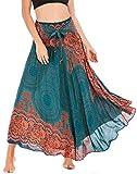 FEOYA Damen Chiffon Bohemien Maxirock Verstellbares Riemen Kleid Freizeit Urlaub Sommerrock Strandkleider Lang Gedruckter Rock - Muster 2