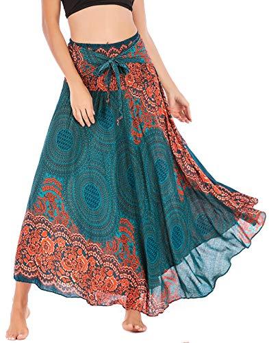 FEOYA Falda Mujer Verano Bohemia Elegante Vestido Largo 2 en 1 Faldas Maxi Swing Cómodos con Estampado Flores de Playa Vacaciones