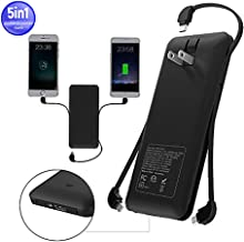 10000mAh Power Bank, Ultra Slim and Compact High-Speed-Charging Portable Charger with Built-in AC Plug, USB Outport, Charging Cables Compatible with iPhone, Samsung Galaxy and More(Black)