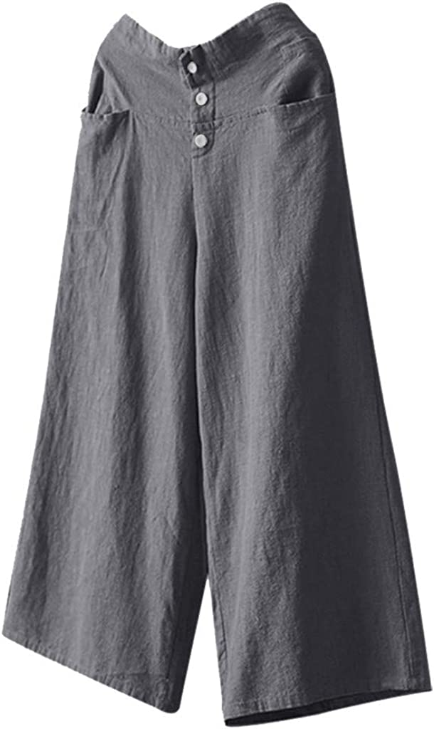 BBesty Big Sale Women's Solid Color Palazzo High Waist Wide Leg Culottes Cotton Linen Trousers Loose Pants