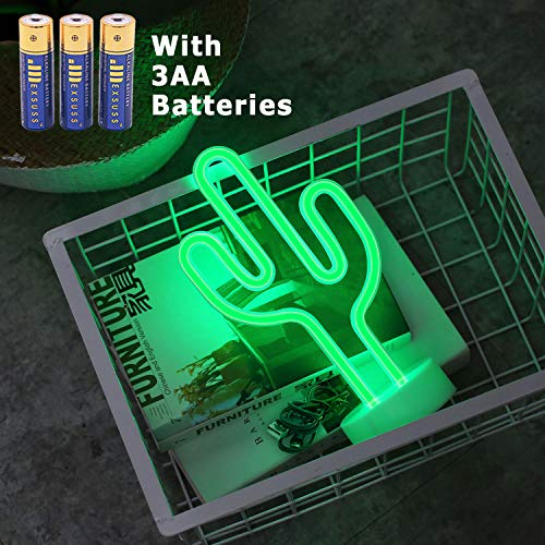 HONGM Cactus Neon Signs LED Neon Light Sign with Holder Base Battery Powered/USB for Party Supplies Girls Room Decoration Accessory for Party Table Decoration Children Kids Gifts