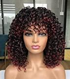 CiCi Short Curly Wigs For Black Women With Bangs Afro Short Kinky Curly Big Bouncy Hair Wig 12inch in Front 14 inch Back(Ombre Red)