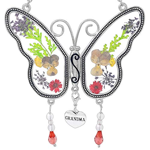 BANBERRY DESIGNS Grandma Butterfly Suncatcher with Pressed Flower Wings Embedded in Glass with Metal Trim - Grandma Heart Charm - Gifts for Grandma -...