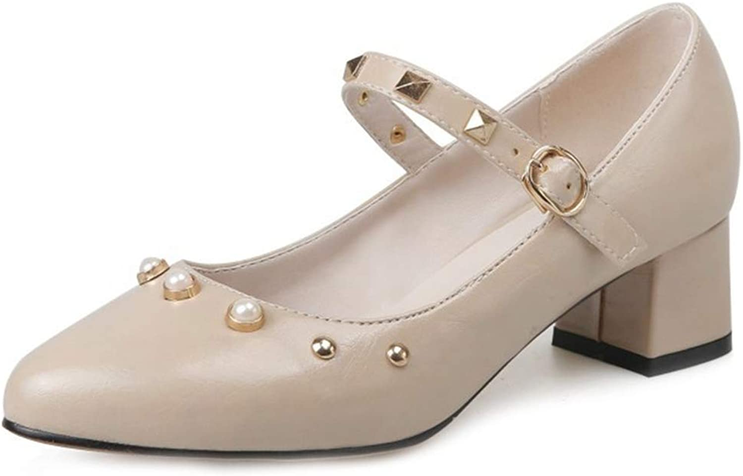 GIY Women's Retro Mary Jane Oxford shoes Wingtip Buckle Strap Mid Heel Studded Classic Dress Oxfords