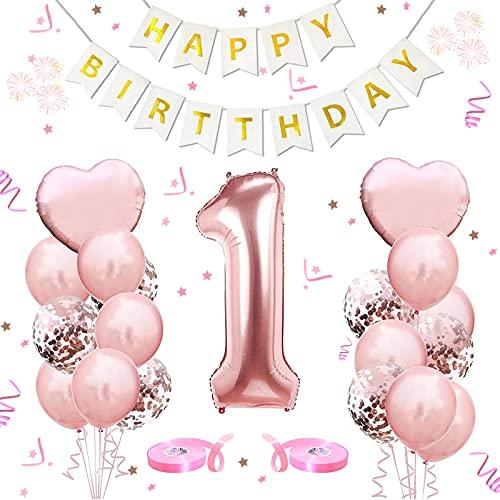 Palloncini Compleanno 1,Palloncini in Oro Rosa Numero 1 ,Foil Palloncini Numeri 1,Palloncini Pompleanno, per decorazione Feste di Compleanno