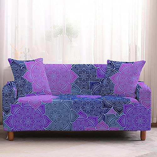 Fundas de Sofá - Funda Cubre Sofá Elasticas de Protector de sofá con Estampado Estilo Mandala Morado 1 Plazas, Suave Poliéster Universal Funda Cubre Sofas Ajustables