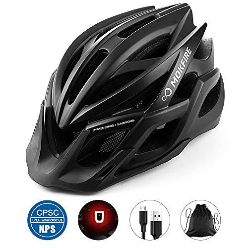 MOKFIRE Adult Bike Helmet with Rechargeable USB Light, Bicycle Helmet...