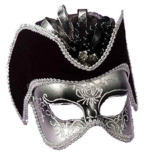 Forum Novelties Men's Venetian Style Half Mask, Gold/Black/White, One Size