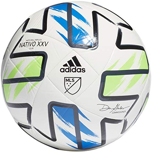 adidas MLS Club Ball, White/Solar Green/Glory Blue/Black, 5