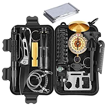 Gifts for Men Dad Husband Boyfriend him,Survival Gear and Equipment,Emergency Survival Kit 14 in 1,Cool Birthday Gifts,Tactical Gear,Fishing Hunting Hiking Camping Gear