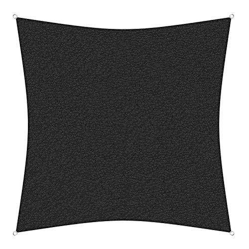 sunprotect 83441 Professional Sonnensegel, 5 x 5 m, Quadrat, Wind- & wasserdurchlässig, schwarz