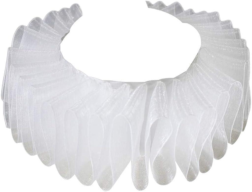 YOUSIKE Neck Chain, Womens Renaissance Elizabethan Ruffled Fake Collar Chiffon White Clown Neck Ruff Vintage Victorian Halloween Cosplay Costume Accessories