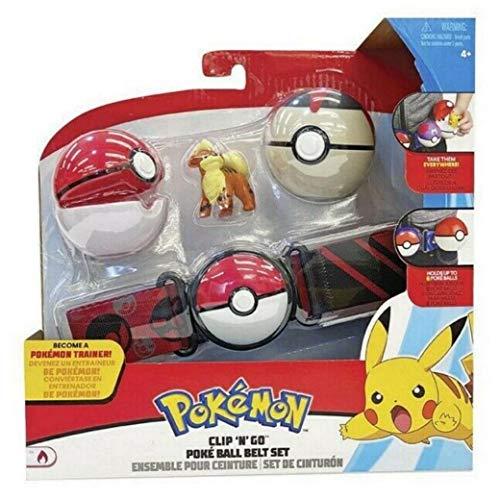 WCT Pokemon Clip 'n' Go Ball Belt con Figura de Growlithe y 2 pokebolas Oficiales Originales