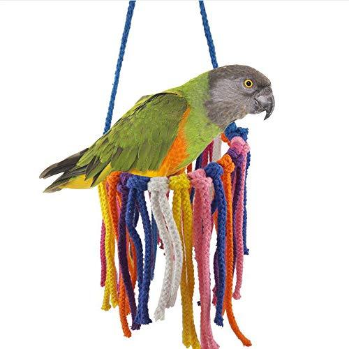 Jourad Juguetes para Pájaros Pájaro Mascota Masticar Algodón Columpio Columpio Juguete para Loros Pequeños Y Medianos