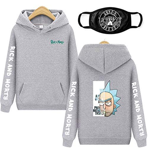 Unisex Sudadera con Capucha Rick Morty Sudaderas Algodn Hombres Mujeres 3D Hoodie Hombre Casual Manga Larga Pullover Sweatshirt,Gris,S