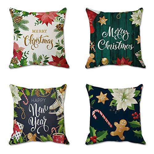Set de 4 Fundas Navideñas para Cojines,Fundas de Almohada Decorativas Funda de Almohada navideña Funda de almohada de...