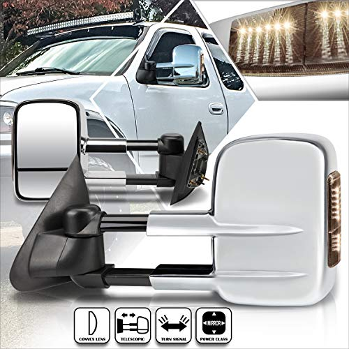 Compatible with Ford F150 97-04/F250 97-99 Power+Heated Towing Mirror w/Smoked LED Lamp Pair