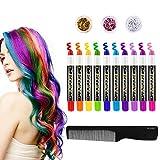 Frcolor Haarkreide für Kinder, 10 Farbe temporäre Haarfarbe für Alle Haarfarben Waschbar Haar...
