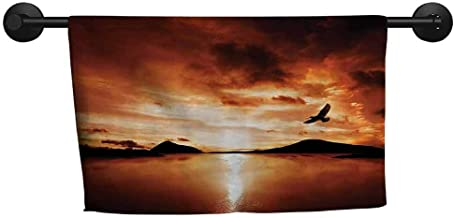 ZSUO Wholesale Towel W 24 x L 8(inch) Quick-Drying Towel,Flying Birds Decor,A Sea Bird Flies Off into The Amazing Sunset Cloudy Sky Sun Reflection on Surface,Brown Yellow