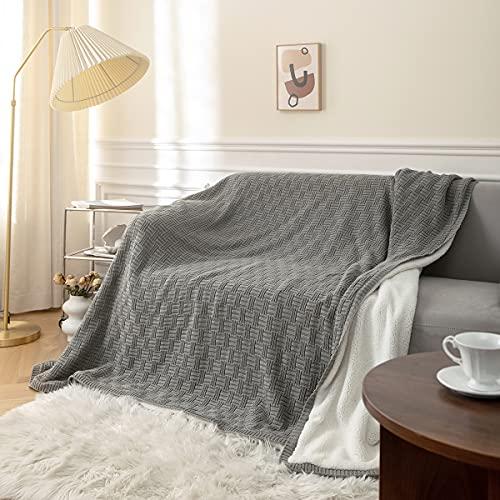 MYLUNE HOME Baumwolle + Sherpa Decke Flauschige Kuscheldecke - Hochwertige Zweiseitige Wohndecke - Weiche und Warme Sofadecke - Fleecedecke für Bett, Sofa & Couch(70'' x 78'', Grau)