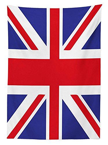 Tovaglia Yeuss Union Jack di,Bandiera Tradizionale Classica Regno Unito Simbolo fedeltà Britannica Moderna,Sala da Pranzo Coperta Tavolo Rettangolare da Cucina,Royal Blu Rosso Bianco,52x70 Pollici
