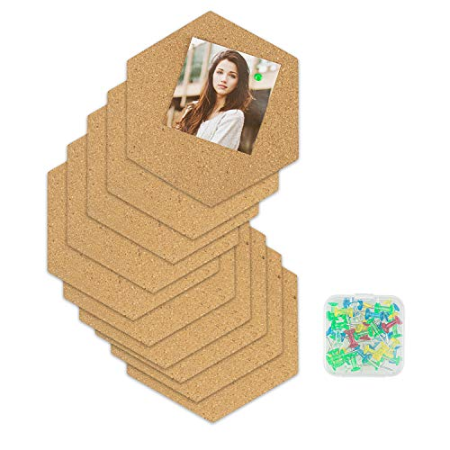 Lawei 12 Pack Hexagon Cork Tiles Board - Bulletin Board Tiles with Full Sticky Back, Mini Wall Bulletin Boards Decoration for Home Office Classroom Wall, 40 Push Pins
