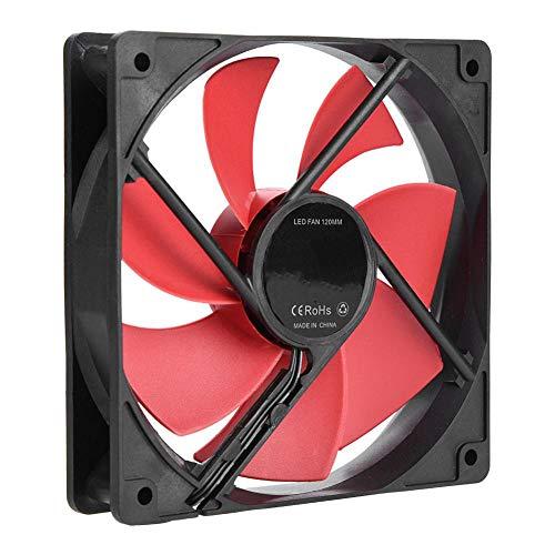 Ventilador de enfriamiento de Caja de computadora de 120 mm, Ventilador de enfriamiento de 12 V CC de Caja de PC, Ventilador de enfriamiento de Interfaz Grande de 4 Pines y pequeño 3 Pines(Rojo)