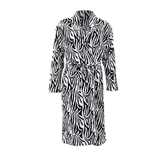 YMXYP Herbst Und Winter Coral Fleece Cardigan Pyjamas Zebra Farbe Herbst Und Winter Robe Edle Coral Velvet Home Kleidung