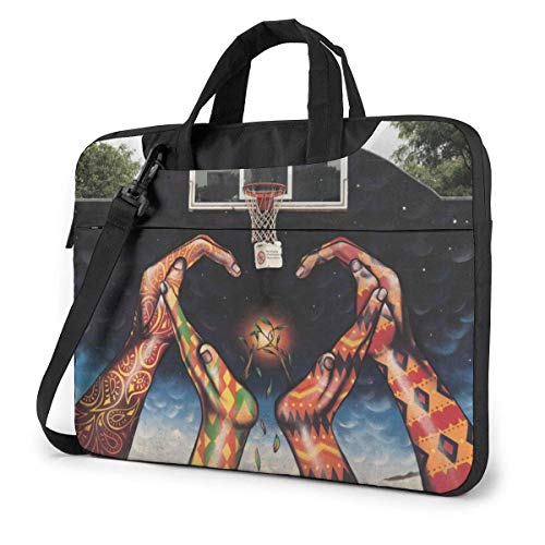 Laptop Tote Bag, Basketball Net Hands Gra-ffiti Durable Laptop Carrying Sleeve with Strap Fits 13-15.6in Laptop for Business