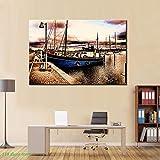 NIMCG Imprime Carteles de paisajes y Arte de Pared Lienzo Pintura clásico Abstracto Barco en la bahía Fotos para Sala de Estar Pared decoración del hogar (sin Marco) 50x70 cm
