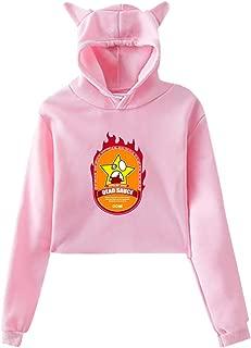Womens Cute Cat Ear Sweatshirt Crop Top Hoodie with Sauce Like This Lil Water Graphic
