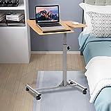 COSTWAY Laptoptisch Notebooktisch Pflegetisch Rolltisch Betttisch Sofatisch, auf Rollen, höhenverstellbar und neigungsverstellbar, 95x64x45cm - 6
