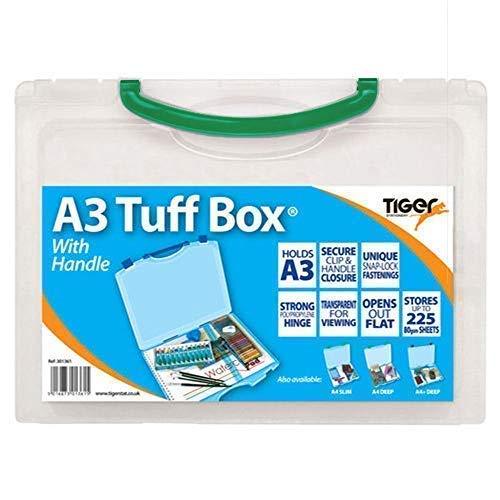 Tiger A3 Transparent Tuff Box (Poignée Verte) Plastique Multi Usage Stockage Étui de Transport