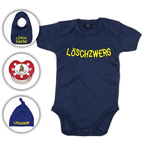 Babyset Feuerwehr Löschzwerg - Strampler/Schnuller/Mütze/Lätzchen / 0-12 Monate/Komplettset/Beruhigungssauger + Babybody (6-12 Monate, Navy Blau)