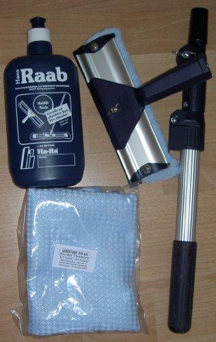 Ha-Ra Vollpflege 1 x 500ml + 1 x Ha-Ra Fensterwischer 19cm + 1 x Ha-Ra Hammer Trockentuch Microfaser 50 x 68 cm (farbig sortiert blau oder weiss) + 1 x Teleskopstange (von 0,5 m bis 1,0 m verstellbar)