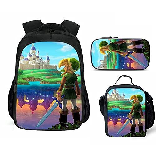 Mochila escolar Zelda 3 unids/lote The Legend of Zelda Game Double School Bag The Legend of Zelda Mochila Niños