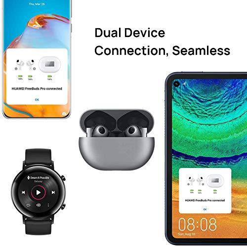 HUAWEI FreeBuds Pro Bluetooth sans Fil , Écouteurs Bluetooth True Wireless avec Réduction de Bruit Active Ajustable, Système à 3 Microphones, Charge sans Fil, Argent
