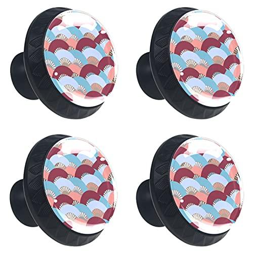 ATOMO 4pcs colorido español ventilador patrón cristal 30mm cajón perilla tirar manija Usd para gabinete, cajón