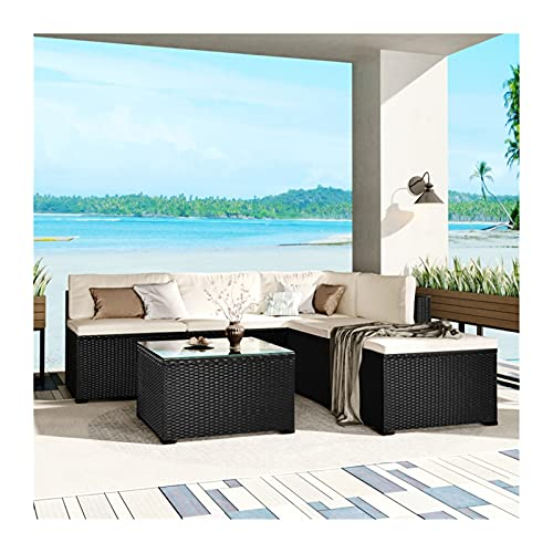 Conjuntos de muebles de patio Conjuntos de comedor de 6 piezas Conjunto de muebles de exterior con EDUCACIÓN FÍSICA Rattan Mimbre, Silla de Sofá Sección de Jardín de Patio, Cojines extraíbles Black Wi